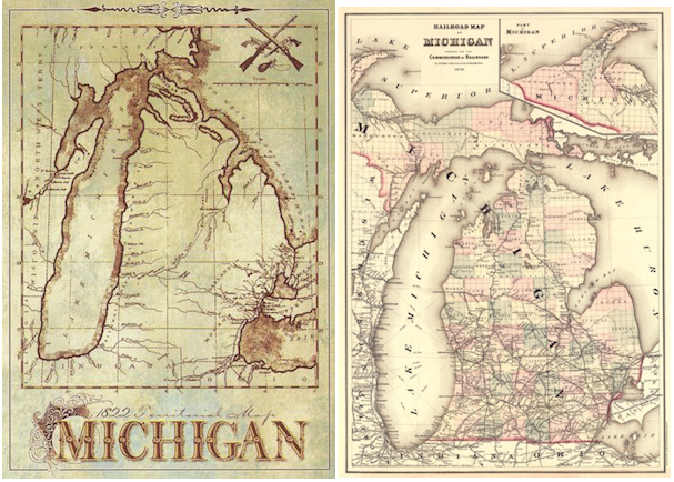 Two maps of the State of Michigan, where emigrants from Grafschaft Bentheim emigrated to