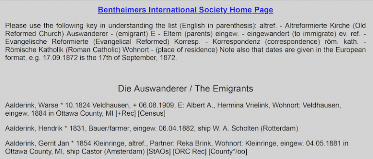 Screen shot of the old Emigrants List