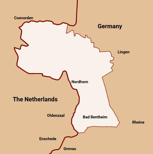 Map showing Grafschaft Bentheim between Netherlands and Germany
