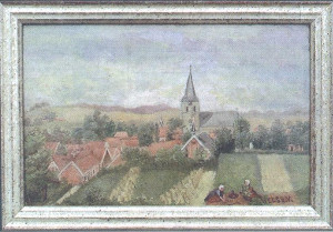 Painting of village church steeple