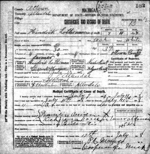 Death certificate of Hendrik Lotterman.