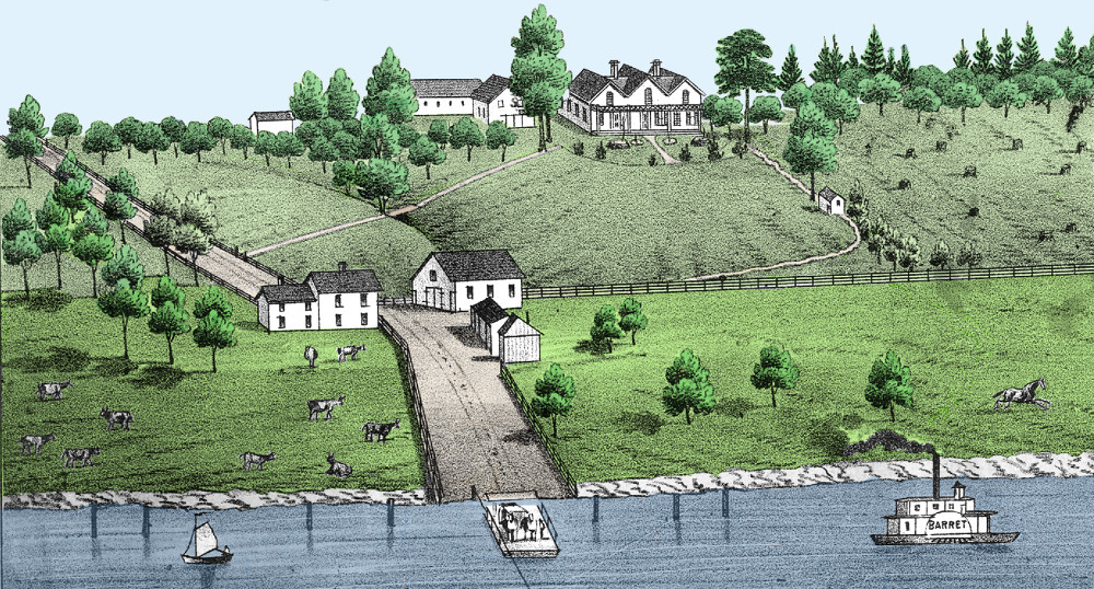 1800s drawing of river farm