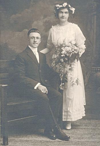 Wedding portrait of Carrie and Albert Bielefeld