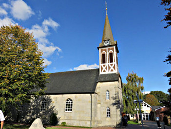 Illustration of the Evangelisch-reformierte Kirche in Hoogstede, Germany (Evert Bielefeld and Ennegien Schultink were married in this church on 24 November 1887, and their son Albert was baptized here on 9 December 1888.)