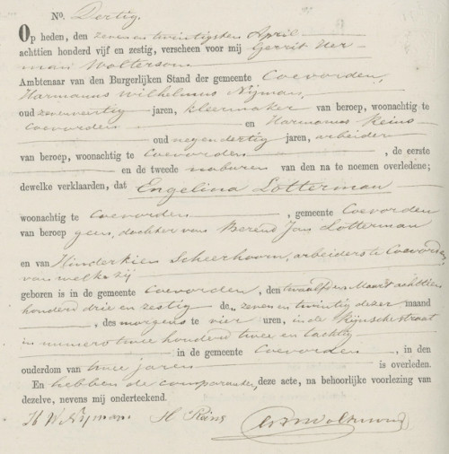 Death certificate in Dutch for Engelina Lotterman, age 2.