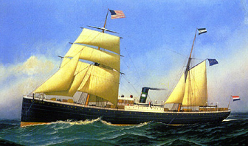 Color painting of the S.S. Schiedam at sea. Jan Albert Gemmen sailed on the Schiedam to New York Harbor in 1885.