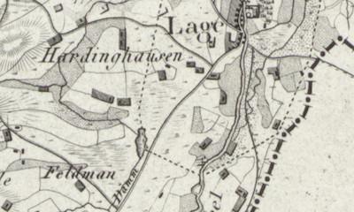 LeCoq's hand-drawn map of Hardingen from his 1805 map of Grafschaft Bentheim, Germany, where Jan Egbert Olthof was born.