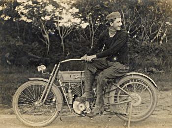 Jan Egbert Olthof's son Fred on his Harley Davidson motorcycle