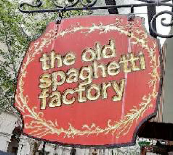 Photograph of the sign outside The Old Spaghetti Factory restaurant in Toronto, Canada where the tour group from Grafschaft Bentheim enjoyed a meal