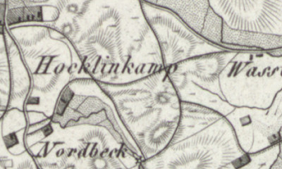 Hand-drawn map of Hocklenkamp, where Gesina Broene was born in 1862.
