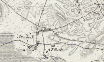 Hand-drawn map of Itterbeck, where Albert Walkotte was born in 1873
