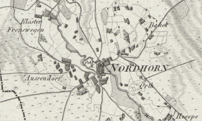 Altendorf area on LeCoq's 1805 map of Grafschaft Bentheim, Germany