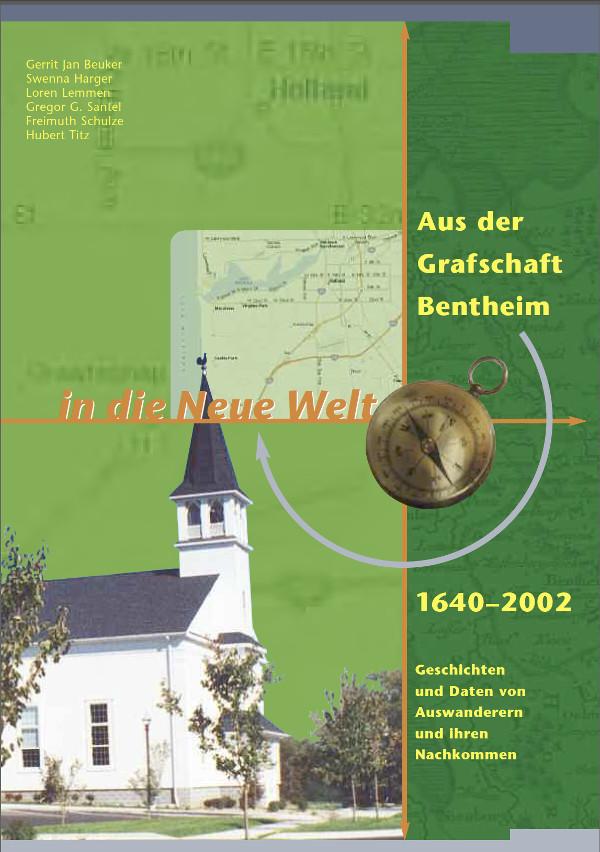 Photo of book Aus der Grafschaft cover with a church on a green background