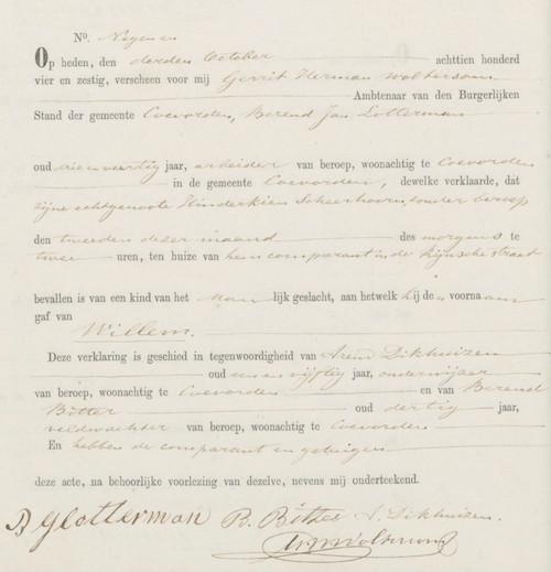 Willem Lotterman's birth certificate in Coevorden registry.