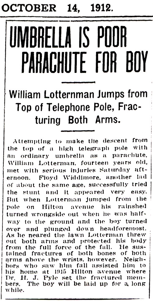 Newspaper article about Albert Lotterman's son.