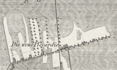 Hand-drawn map of Neue Piccardie from LeCoq's 1805 map of Grafschaft Bentheim, Germany, where Lutte Alferink was born.