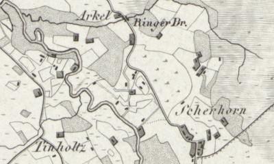 Hand-drawn map of Tinholt from LeCoq's 1805 map of Grafschaft Bentheim, Germany, where Albert Walkotte was born.