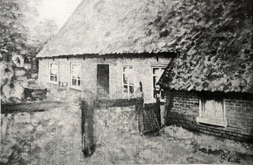 Photo of the Hendrikus Bouws farm with thatched roof farmhouse and attached barn.