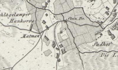 Hand drawn map of Hohenkorben where Johannes Glupker was born