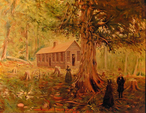 Log cabin church in the forest, as recollected by Rieks Bouws.
