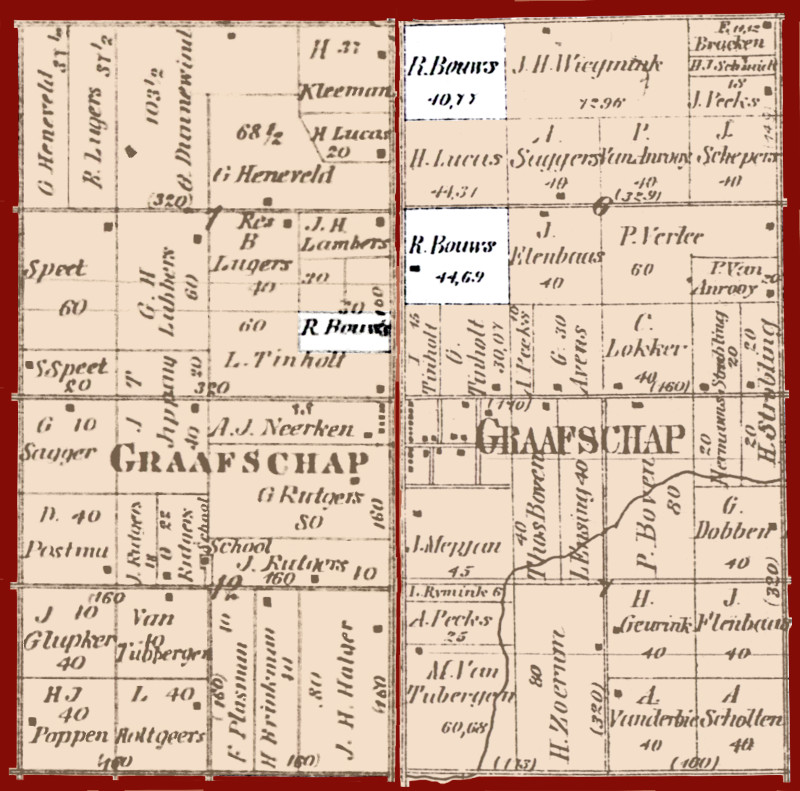 Partial plat maps of Laketown and Fillmore Townships highlighting Hendrikus Bouws' property