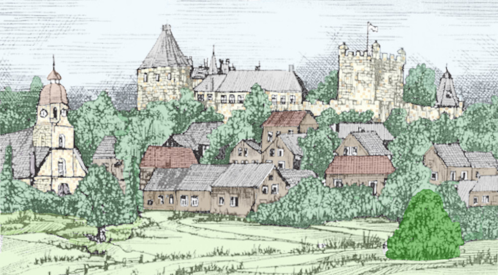 drawing of castle and town