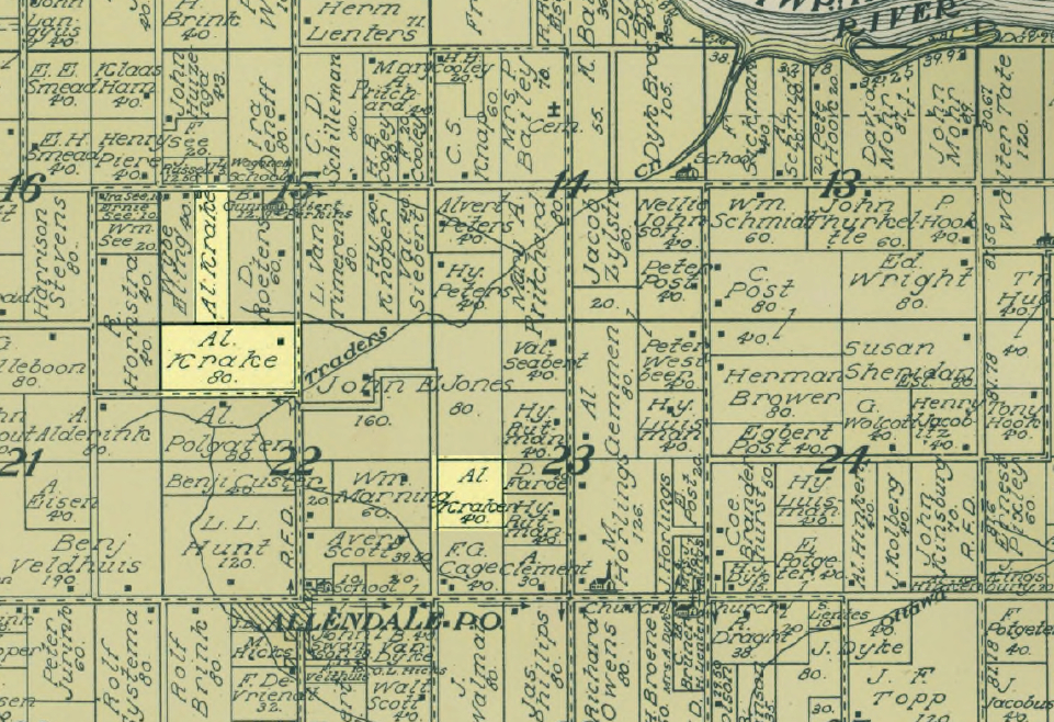 Plat map showing property owners' names
