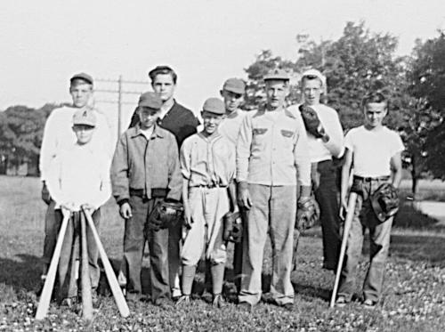 Black and white photo of some of Julia Gemmen Kraker's relatives playing baseball.