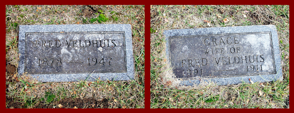 Photograph of grave markers of Frederik Veldhuis and his wife Grace.