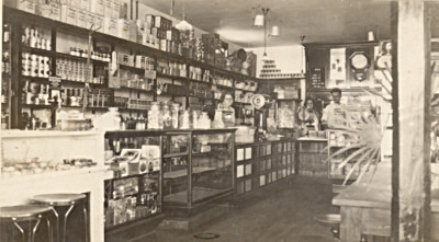 Inside of a general store in the 1920s