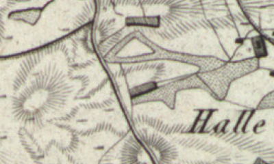 Hand drawn map of Halle where Gertje Veldhuis was born
