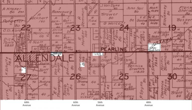 Portion of Allendale plat map from 1920 showing the location of places that Julia mentions.