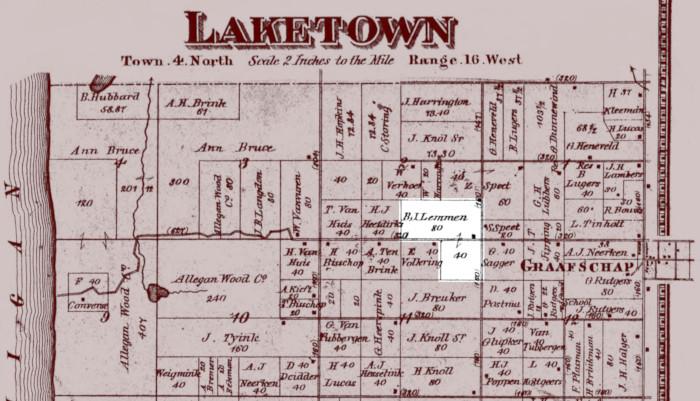 Plat map in Laketown Township showing location of Berend Jan Lemmen's farm