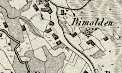 Hand drawn map of Bimolten where Gese Stevens was born.