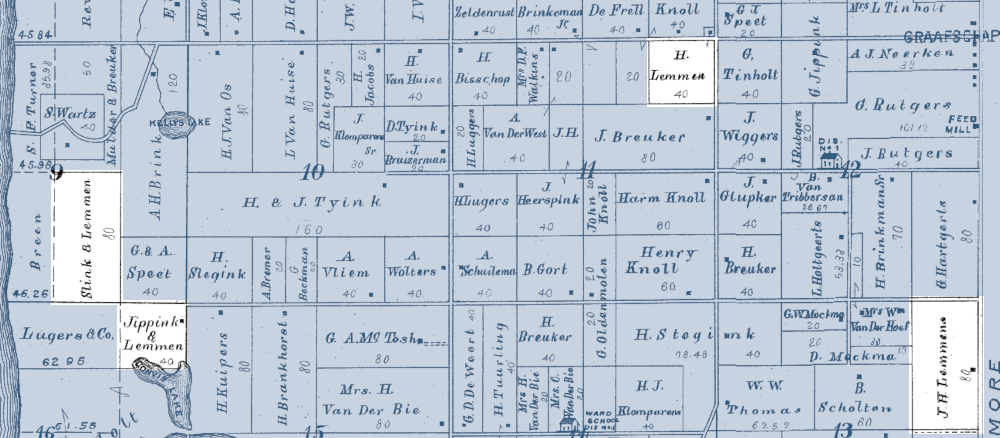 Plat map showing land owned by Lemmen family members