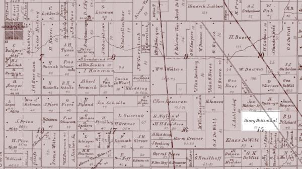 1895 plat map showing Gerritdina Lemmen's farm in Fillmore Township