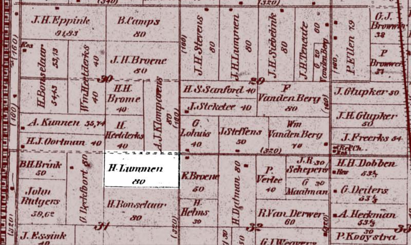 1895 Fillmore Township plat map showing where the Hendrik Lummen farm was located