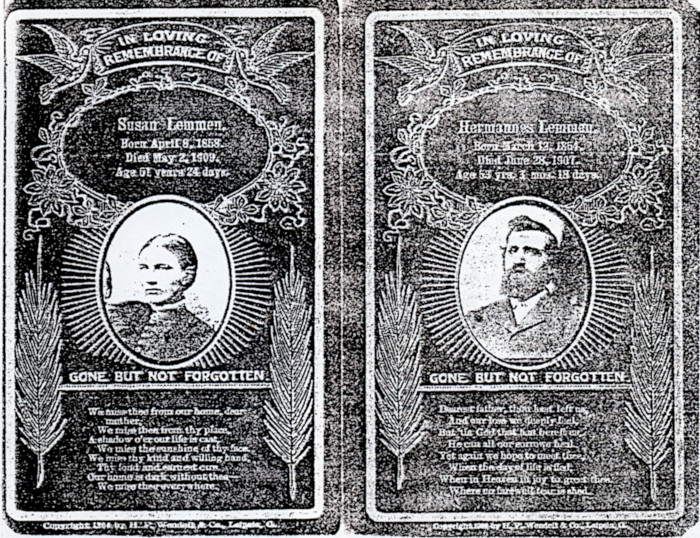 Death announcement cards for Hermannes Lemmen and Zwaantje Lummen Lemmen.