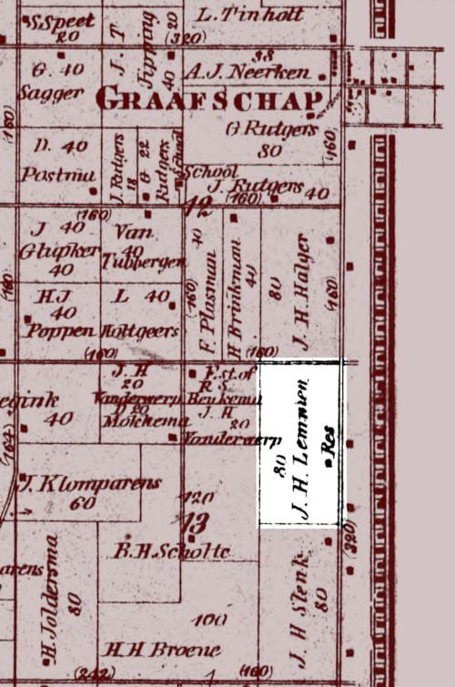 1873 plat map showing Jan Harm Lemmen's 80 acre farm in Laketown.
