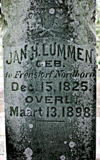 Photo of Jan Harm Lummen headstone.