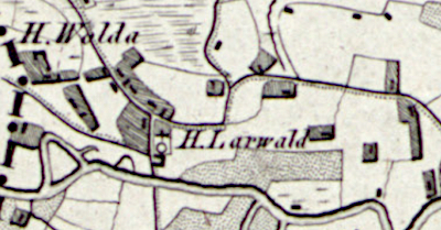 Hand drawn map of Laar where Gerritdina Lemmen was born in 1856