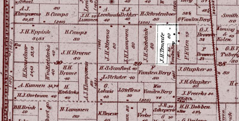 1895 plat map showing where Lamberdina Lemmen and Johannes Ten Cate's farm was located.