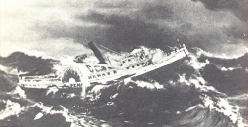 Artist's portrayal of the PS Alpena ship in Lake Michigan, foundering in high seas.