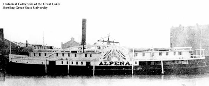 Photo of the PS Alpena ship, which traveled between Grand Haven, Michigan, and Chicago, Illinois on Lake Michigan.