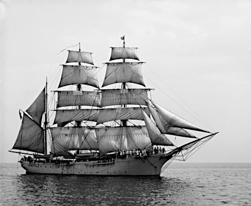 Photograph of the barque sailing vessel Salmon P. Chase showing its rigging, which distinguishes it from other types of sailing ships.