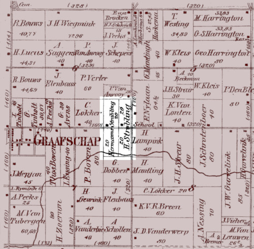 A portion of an 1873 plat map of Fillmore Township showing the village of Graafschap and, to the east, the Hendrikus Strabbing farm just down the road.