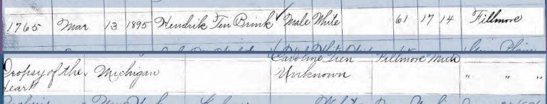 One handwritten entry in the Return of deaths registry for the State of Michigan listing Hendrik Ten Brink.