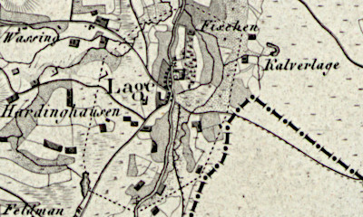 Hand drawn map of Lage, Grafschaft Bentheim.