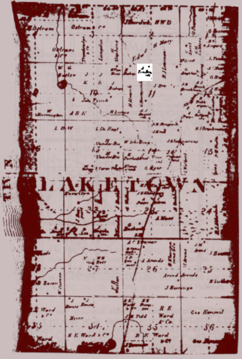 """1864 plat map of Laketown Township, Allegan County, Michigan. The quality is very low but """"A. Ten Brink"""" can still be read, found where Albert's farm was located."""