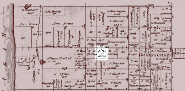 1873 plat map of Laketown Township showing the farm's location and neighboring properties.